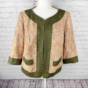 Sejour Green & Cream Tweed 3/4 Sleeve Jacket